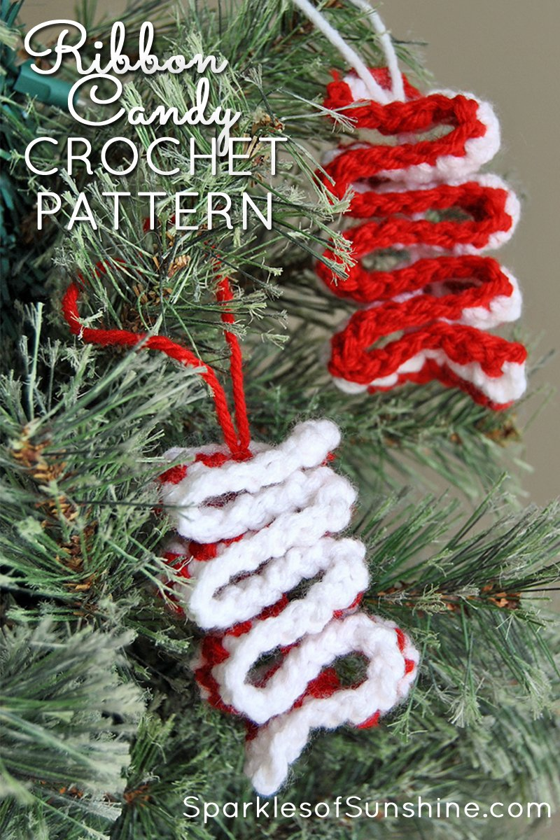 Decorate your Christmas tree with colorful old-fashioned candy ornaments. This easy crochet ribbon