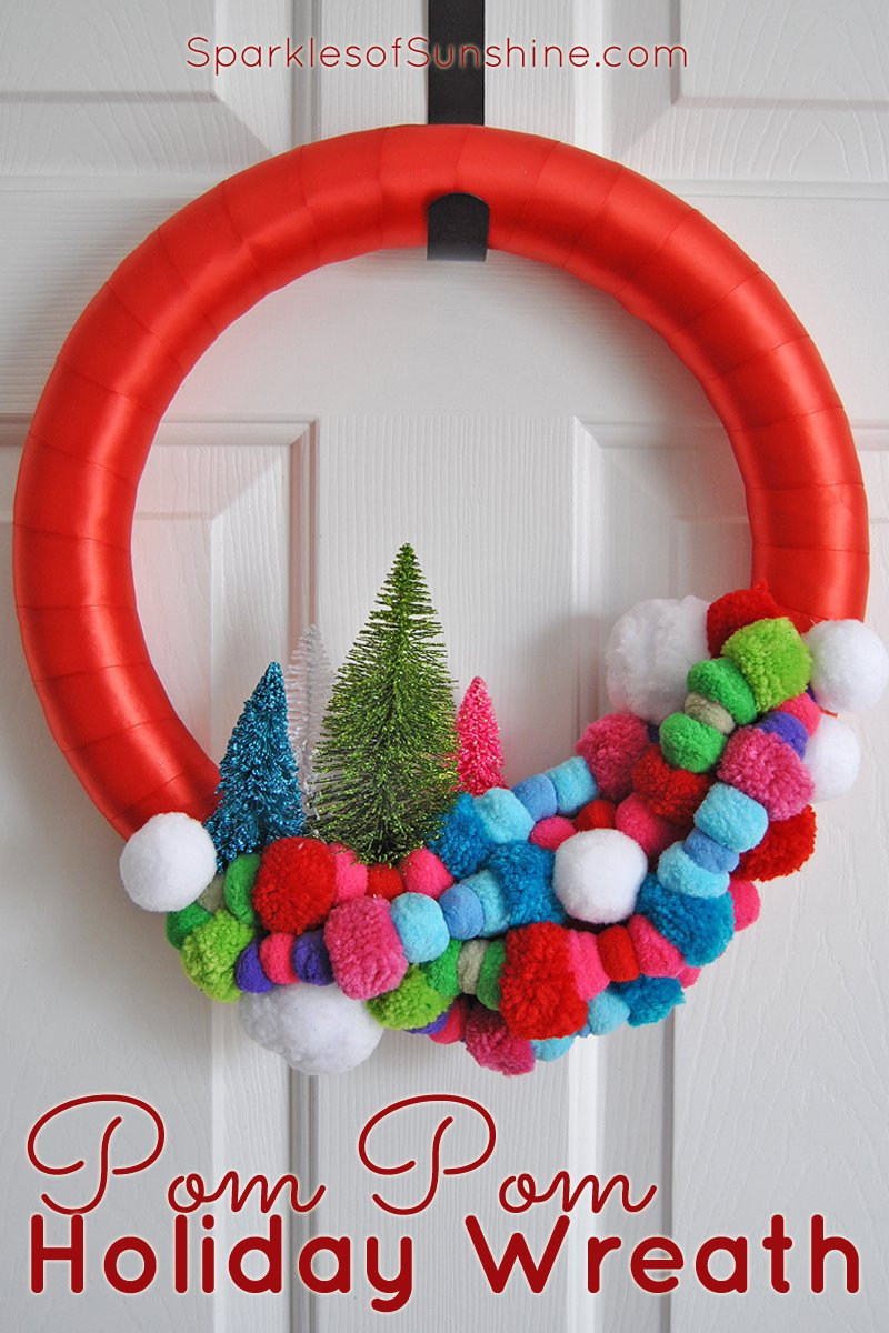 Pom Pom Holiday Wreath At