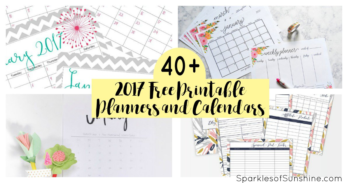 Printable Coloring Calendar 2017 Free : 40 awesome free printable 2017 calendars and planners sparkles