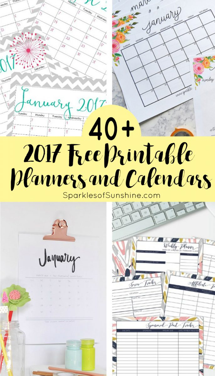 40 awesome free printable 2017 calendars and planners sparkles of want to organize your life for free check out this collection of over 40 awesome solutioingenieria Image collections