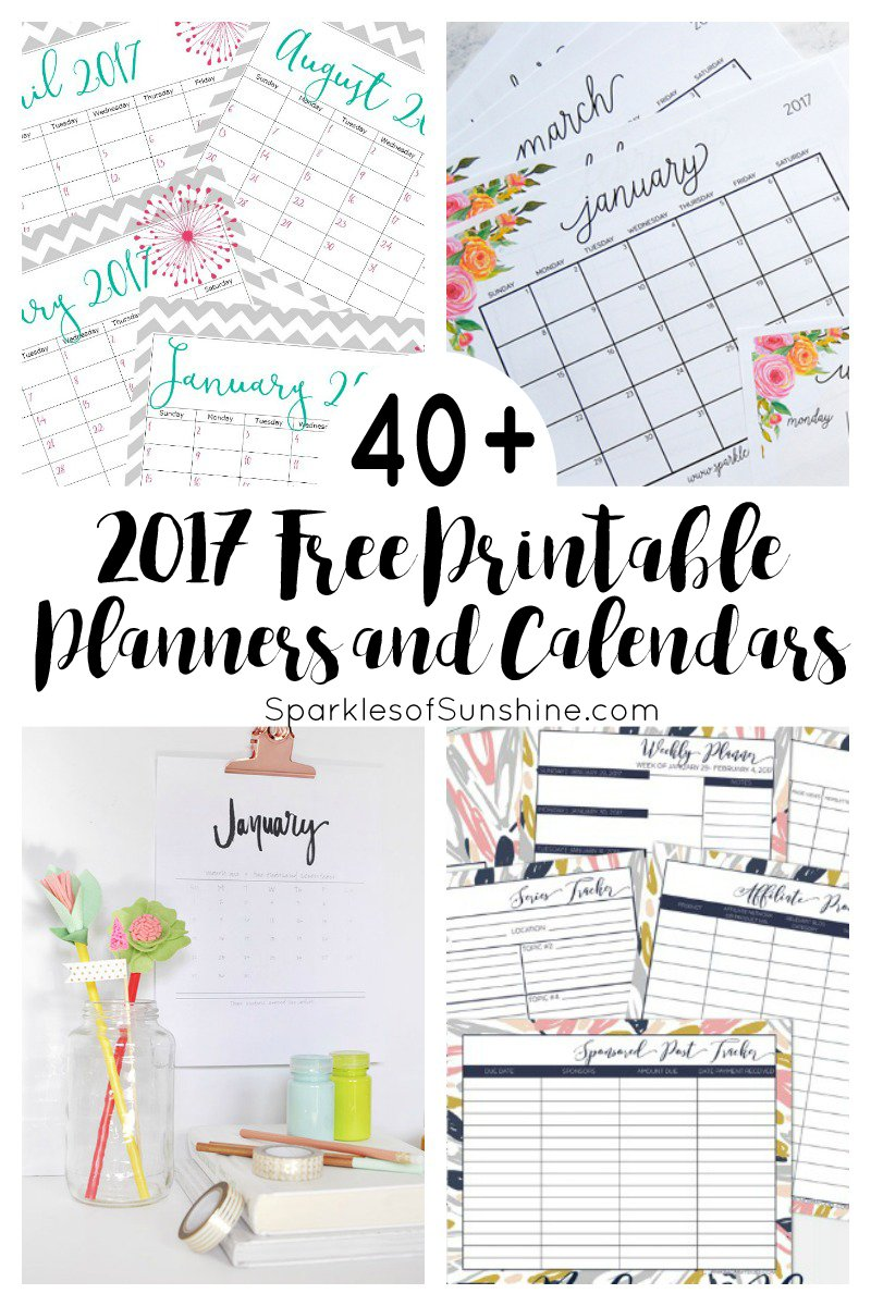 image about Free Printable Planners titled 40+ Remarkable Free of charge Printable 2017 Calendars and Planners