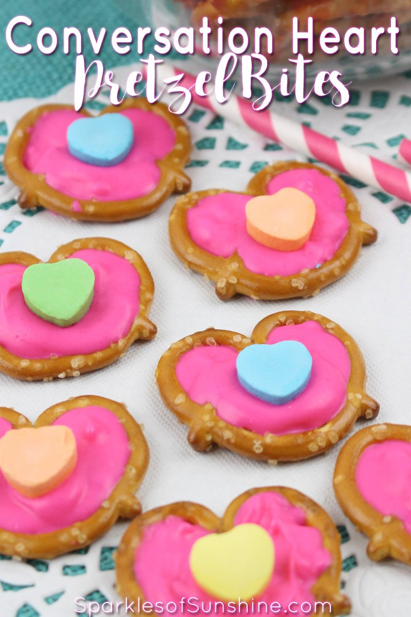Spread the love this Valentine's Day by making these easy Conversation Heart Pretzel Bites.