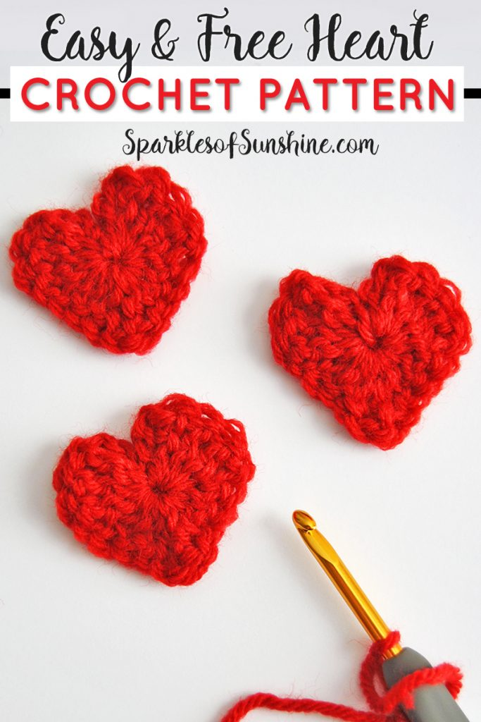Easy & Free Heart Crochet Pattern for Valentine\'s Day - Sparkles of ...