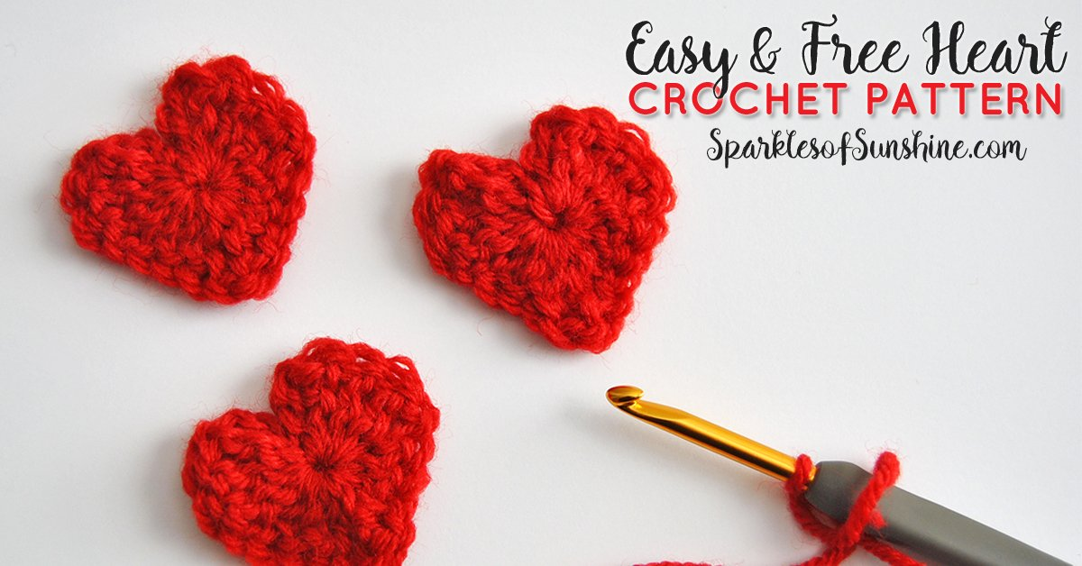 Easy & Free Heart Crochet Pattern for Valentines Day - Sparkles of ...