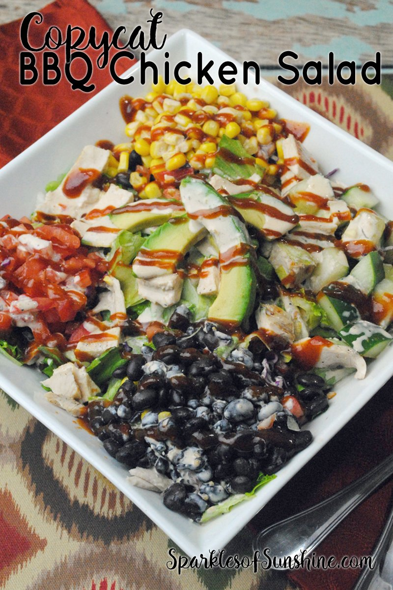 The copycat BBQ chicken salad recipe is the perfect meal choice for lunch or dinner. Think of salad in a whole new way!