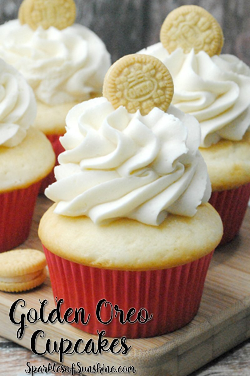 Easily satisfy your sweet tooth with this delicious recipe for Golden Oreo Cupcakes at Sparkles of Sunshine.