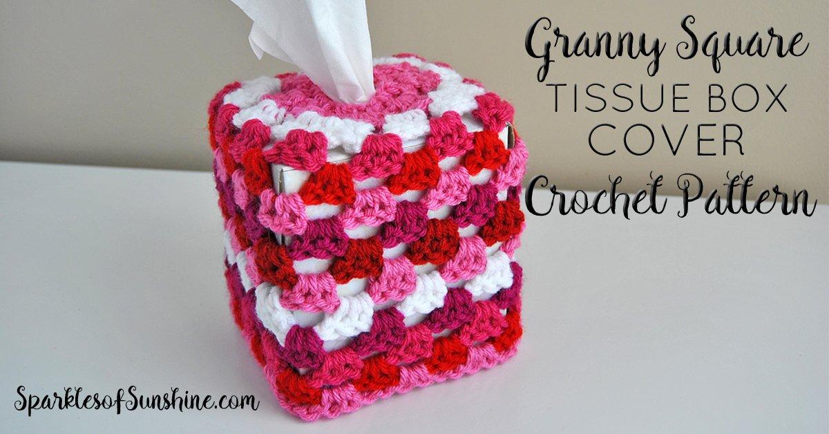 Granny Square Tissue Box Cover Free Crochet Pattern