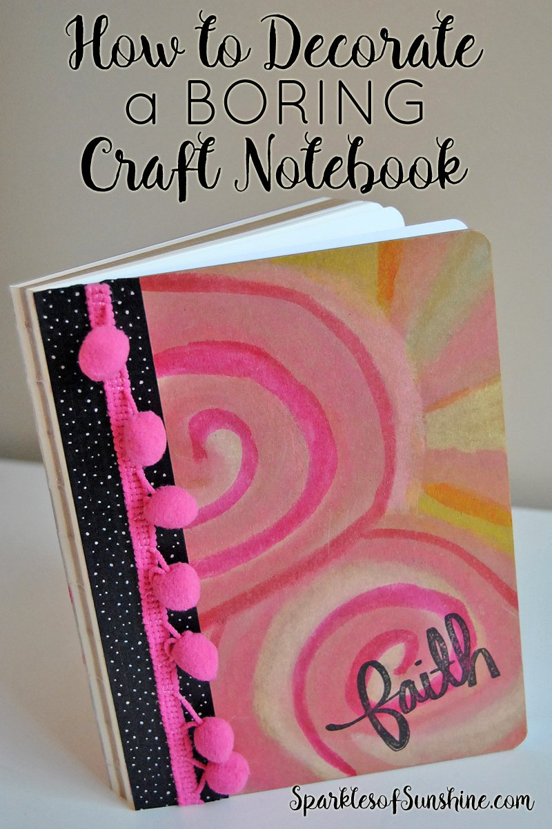 how to decorate a boring craft notebook and make it fun sparkles