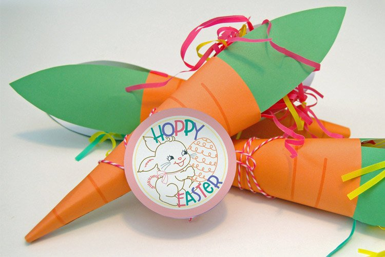 Cute & Easy Carrot Treat Cone Free Printable for Easter