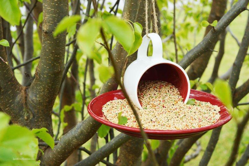 How To Make An Upcycled Coffee Mug Bird Feeder Sparkles
