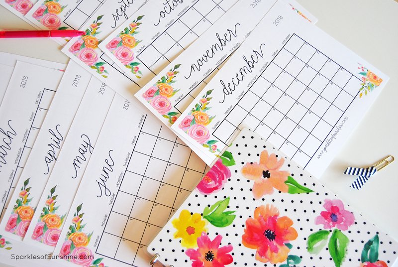 Free Printable  Monthly Calendar With Weekly Planner  Sparkles