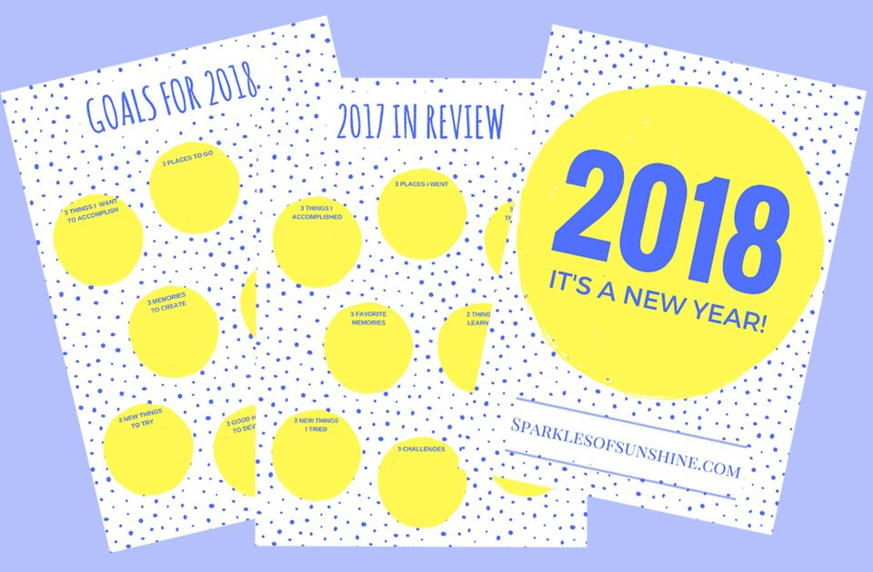 Greet 2018 with a new year free printable set sparkles of sunshine m4hsunfo