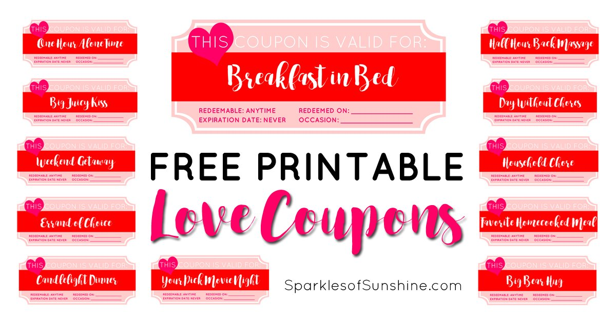 valentines day free printable love coupons sparkles of sunshine