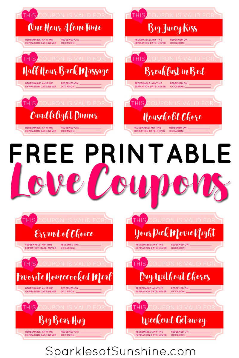 photo relating to Free Printable Love Cards known as Valentines Working day Totally free Printable Take pleasure in Discount coupons - Flickers of