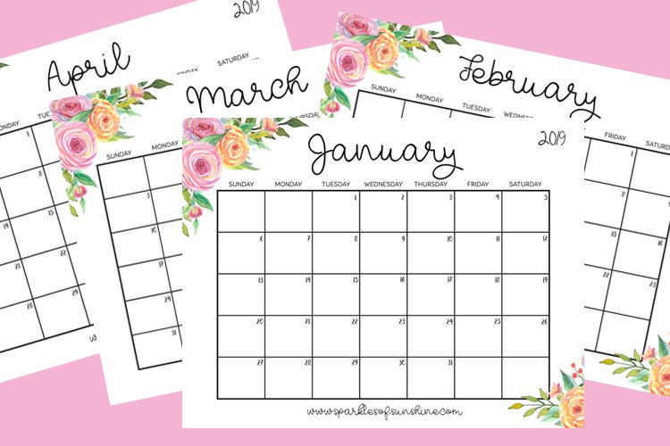 Stay organized in 2019 with the free printable 2019 calendar with weekly planner at Sparkles of Sunshine.