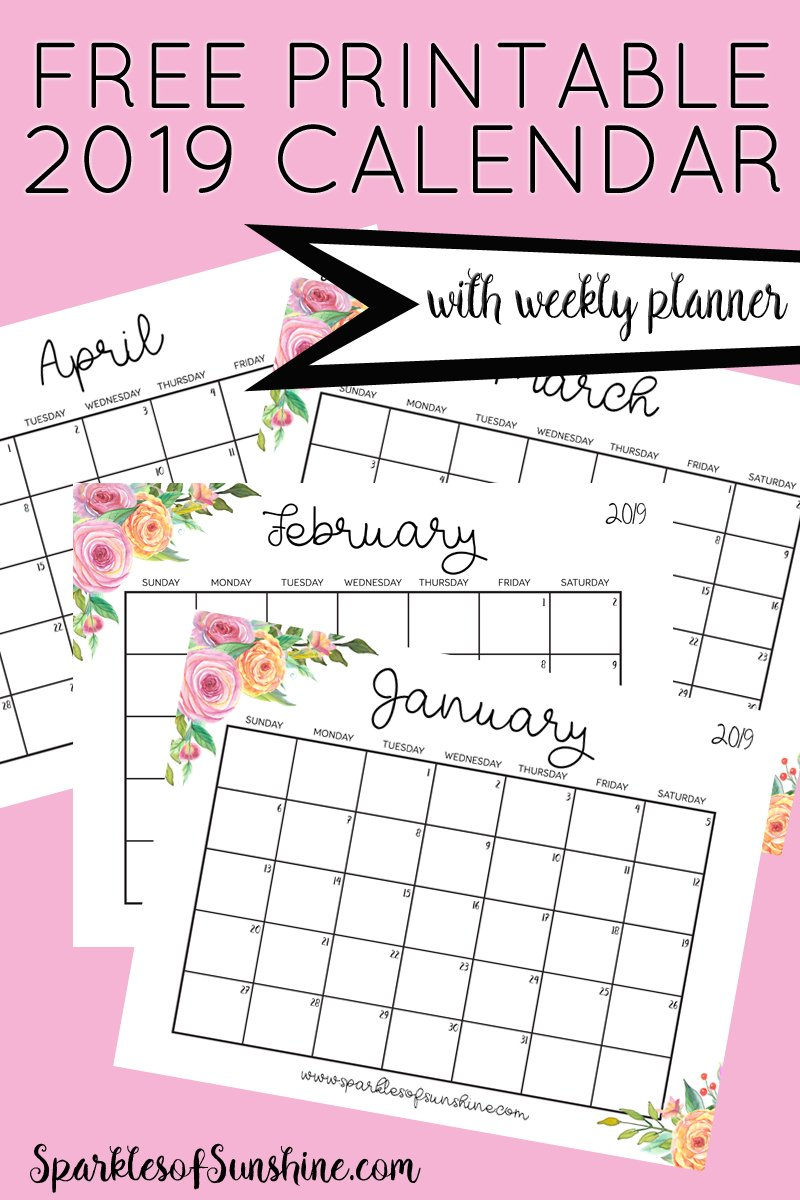 graphic about Free Weekly Planner Printable referred to as Absolutely free Printable 2019 Calendar With Weekly Planner - Glints
